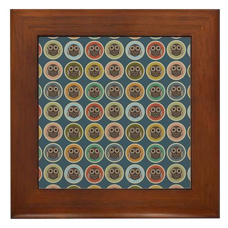 Owl Dots Framed Tile