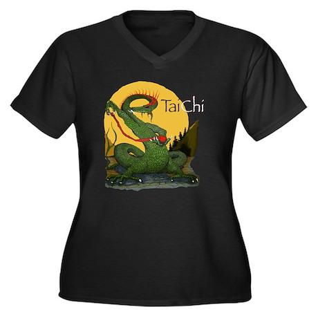 Women's Plus Size V-Neck T-Shirt/ Tai Chi design