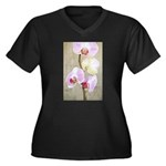 Orchid Flowers Women's Plus Size V-Neck Dark T-Shi