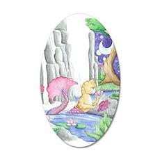 Water Garden - Mermaid Cat 22x14 Oval Wall Peel