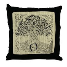 Celtic Tree of Life Ink Throw Pillow