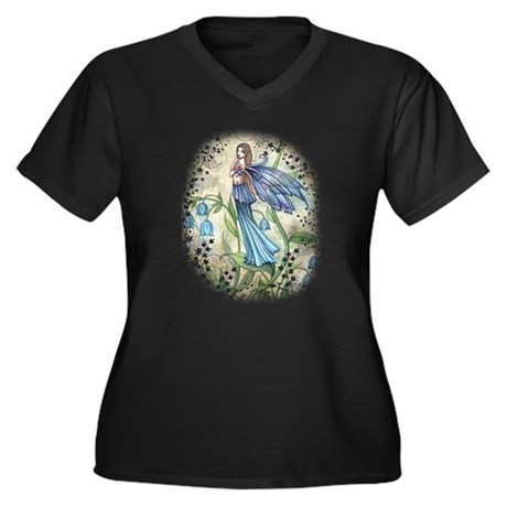 Blue Bell Fairy Women's Plus Size V-Neck Dark T-Sh
