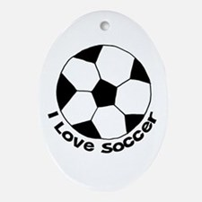 I Love Soccer Oval Ornament