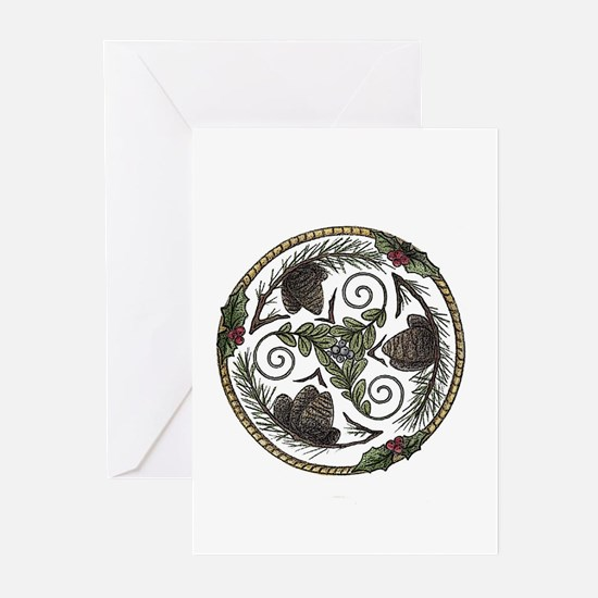 Mistletoe and Pine Trisk Greeting Cards (Pk of 10)