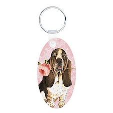 Basset Hound Rose Keychains