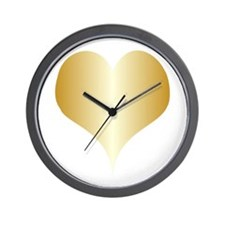 Gold Heart Design Wall Clock