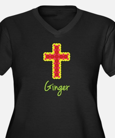 Ginger Bubble Cross Women's Plus Size V-Neck Dark