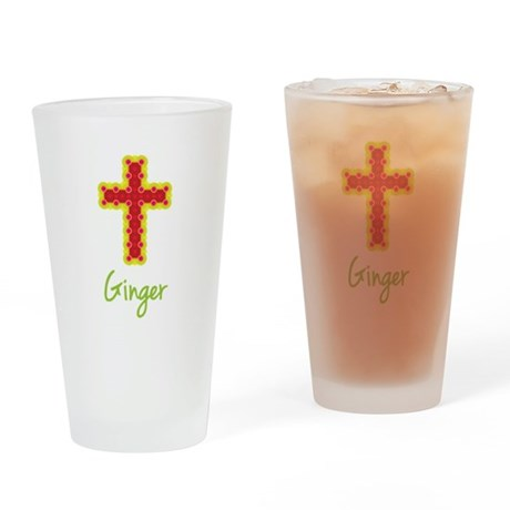 Ginger Bubble Cross Drinking Glass