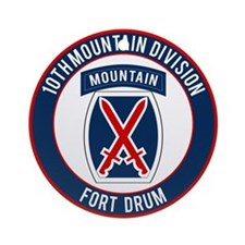 10th Mountain Ft Drum Ornament (Round)