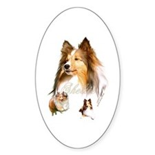 Sheltie Headstudy+2 Oval Decal