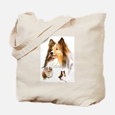 Sheltie Headstudy+2 Tote Bag