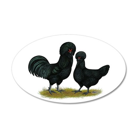 Crevecoeur Fowl 22x14 Oval Wall Peel