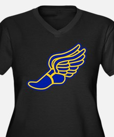 Blue and gold track foot Women's Plus Size V-Neck