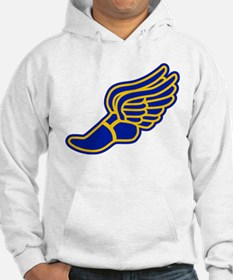 Blue and gold track foot Hoodie