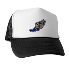 Blue and gold track foot Trucker Hat