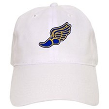 Blue and gold track foot Baseball Cap