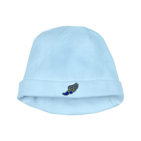 Blue and gold track foot baby hat