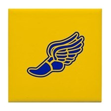 Blue and gold track foot Tile Coaster