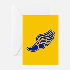 Blue and gold track foot Greeting Cards (Pk of 20)