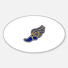Blue and gold track foot Sticker (Oval 10 pk)