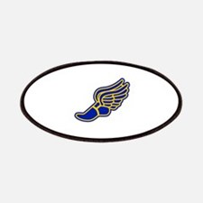 Blue and gold track foot Patches