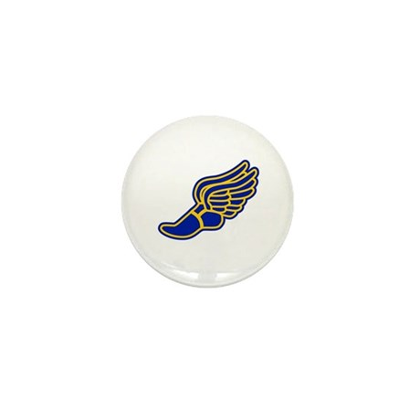Blue and gold track foot Mini Button (10 pack)
