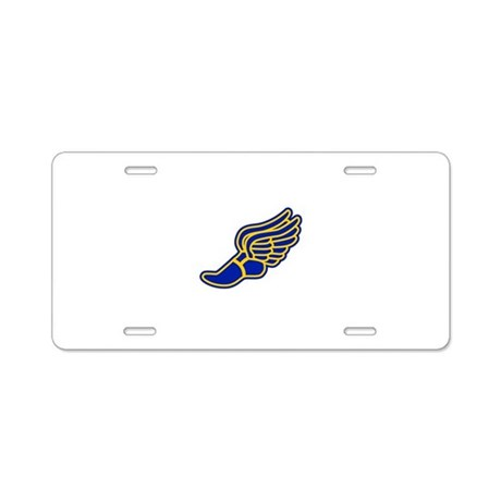 blue and gold track foot aluminum license plate by purpleplanet. Black Bedroom Furniture Sets. Home Design Ideas