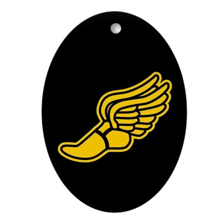 Black and Gold Track Foot Ornament (Oval)