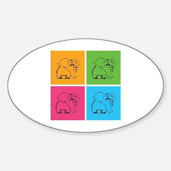 Cute elephants Sticker (Oval)