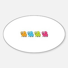 Cute elephants Sticker (Oval)