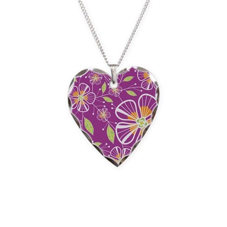 A Pink Bouquet Necklace Heart Charm