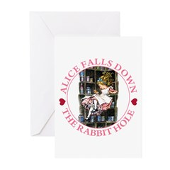 Alice Falls Down the Rabbit Hole Greeting Cards (P