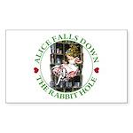 Alice Falls Down the Rabbit Hole Sticker (Rectangl