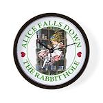 Alice Falls Down the Rabbit Hole Wall Clock