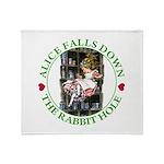 Alice Falls Down the Rabbit Hole Throw Blanket