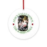 Alice Falls Down the Rabbit Hole Ornament (Round)