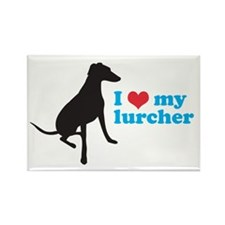I love my lurcher - Rectangle Magnet