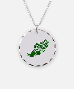 Green Winged Track Foot Necklace