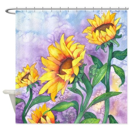 Sunflowers Watercolor Shower Curtain