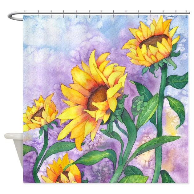 Sunflowers Watercolor Shower Curtain By Artoffoxvox