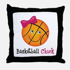 Pink Basketball Chick Throw Pillow