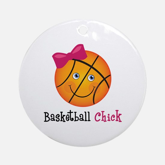Pink Basketball Chick Ornament (Round)