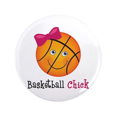 "Pink Basketball Chick 3.5"" Button"