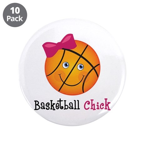 """Pink Basketball Chick 3.5"""" Button (10 pack)"""