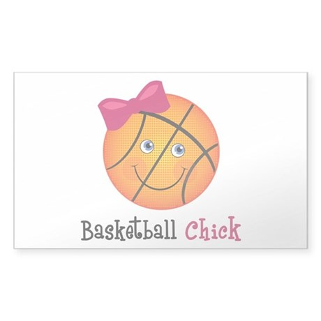 Pink Basketball Chick Sticker (Rectangle)