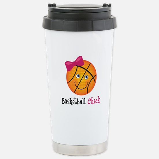 Pink Basketball Chick Stainless Steel Travel Mug
