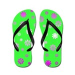 Green With Flowers Flip Flops