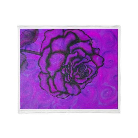 Rose Purple/Aqua Throw Blanket