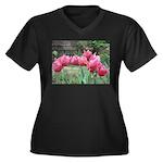 Tulips Women's Plus Size V-Neck Dark T-Shirt