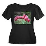 Tulips Women's Plus Size Scoop Neck Dark T-Shirt